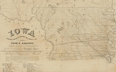 A map from 1851 showing the proposed routes for railroads in Iowa.