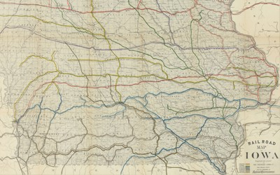 The map shows the many railroads running through the state of Iowa in 1881.