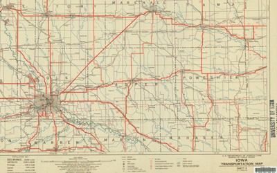 This map of Iowa features railroads in the state as of 1938.