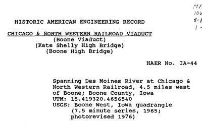 The papers are from the Historical American Engineering Record in a report about the construction of the Chicago & North Western Railroad viaduct (Kate Shelley High Bridge) near Boone, Iowa.