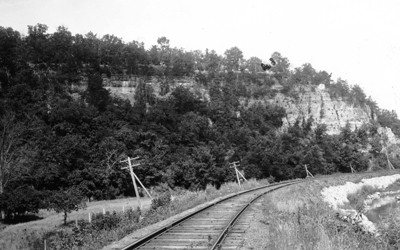 A Galena Limestone cliff next to a railroad in Durango, Iowa.