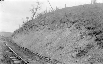 A railroad cutting through Maquoketa shale in Graf, Iowa.