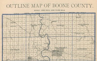 atlas of Boone County from 1902 that shows townships, rivers, towns and railroad lines.