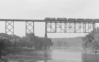 View of the C & NW Railroad Viaduct over the Des Moines River from the north.