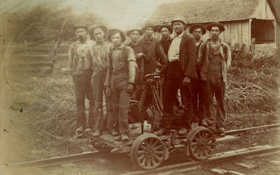 Crew of the Wabash Railroad posing on handcar.