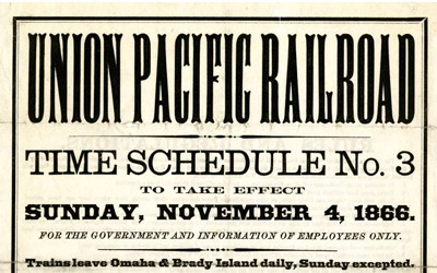 time schedule for trains for the Union Pacific Railroad