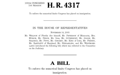 """Text of a """"Truth in Immigration"""" bill put before the U.S. House in 2006."""
