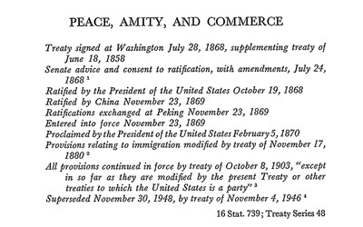 Transcription of treaty between United States and China.
