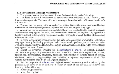 Text of a law passed in 2002 reaffirming English as the official language of Iowa.