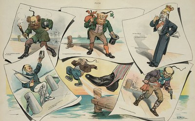 "Cartoon with six images of potential Chinese immigrants in ""disguise."""
