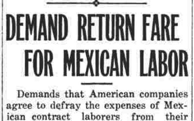 Newspaper Article about the responsibility for providing return fare for Mexican laborers.