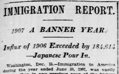 Article in the New York Tribune with statistics on the number of immigrants who entered the United States.