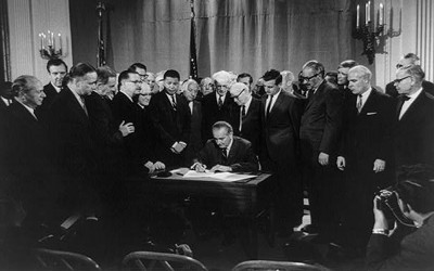 President Lyndon B. Johnson Signs 1968 Civil Rights Act