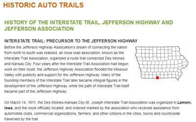 History of the Jefferson Highway from Iowa DOT, Date Unknown