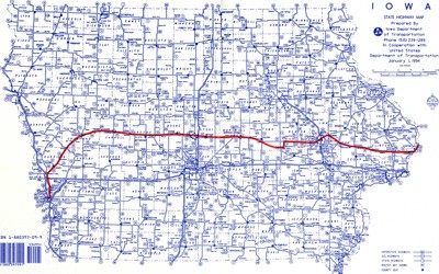 A State of Iowa Road Map from 1994 with the Original route of the Lincoln Highway (in red)