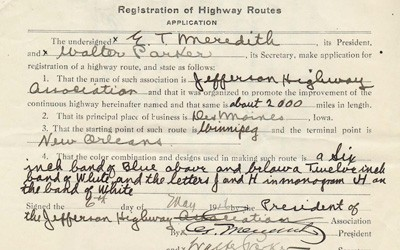 This is the application for registration of highway routes for the Jefferson Highway submitted May 6th, 1916.