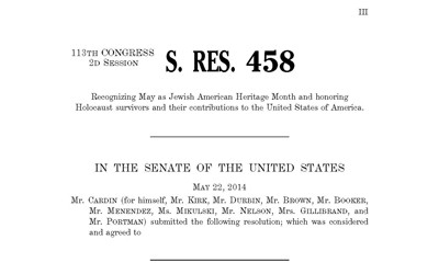 A Resolution from the U.S. Congress Recognizing Jewish American Heritage Month and Honoring Holocaust Survivors