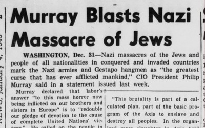 Newspaper article highlighting the atrocities of the Nazi's on the Jews and the U.S. recommitting to helping the Allied Powers.
