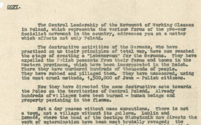 Letter from the Central Leadership of the Movement of Working Classes in Poland to Attlee regarding the treatment of Jews in Europe.