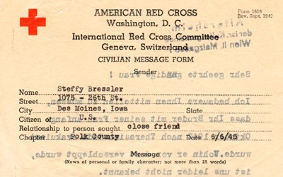 American Red Cross telegram from Steffy Bressler seeking information on the whereabouts of her brother in Germany.  Ms. Bressler is a refugee who escaped the Holocaust and resettled in Des Moines, Iowa.