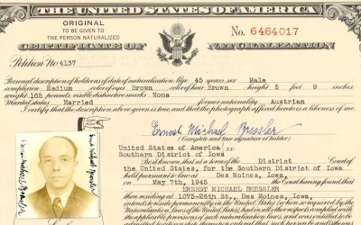Certificate of Naturalization for Ernest Michael Bressler.  Mr. Bressler was the husband of Steffy Bressler.  They came of American to flee the Holocaust and settled in Des Moines.  They were able to become citizens of the United States.