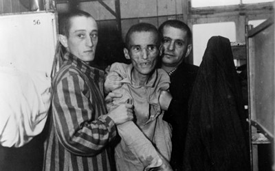The image shows a very thin and sick looking man who is the victim of the holocaust.  He is with two men who are holding him up.