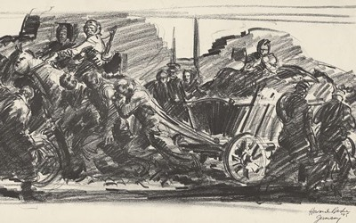 Reproduction of drawing shows European refugees pulling a large cart, bicycling and soldiers riding horses in one direction, as soldiers walk in the opposite direction.