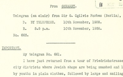 Telegram from Sir G Ogilvie Forbes regarding the damage dealt to Jewish properties during 'Kristallnacht' on 10 November 1938
