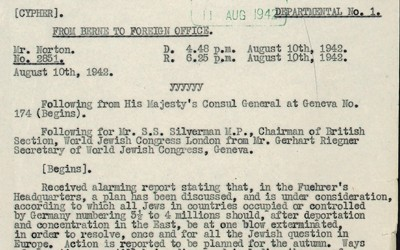 Telegram from Mr Gerhart Riegner to Mr S S Silverman, both of the World Jewish Congress, regarding rumours of the extermination of Jews in Concentration Camps