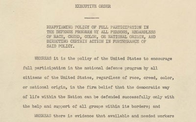 Executive Order 8802: Prohibition of Discrimination in the Defense Industry, June 25, 1941