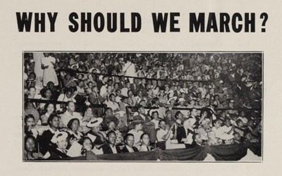 Two page brochure outlining the need for a March on Washington.