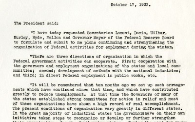 Herbert Hoover's Statement to the Press on Federal Activities for Employment, October 17, 1930