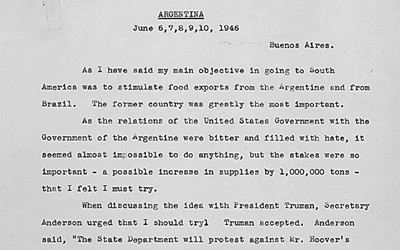 Memo of Herbert Hoover's Talks with Argentina President Juan Peron, June 11, 1946