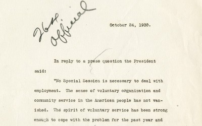 In this correspondence with the Press, President Herbert Hoover states that no special session of Congress is needed to address unemployment.