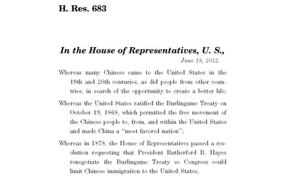 Text of law passed by Congress in 2012 regarding the Chinese Exclusion Act.
