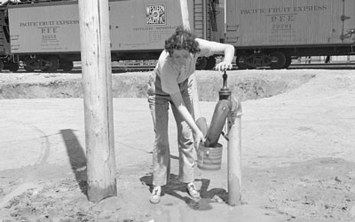 Water Faucet by the Packing Sheds in Edison, California, April 1938