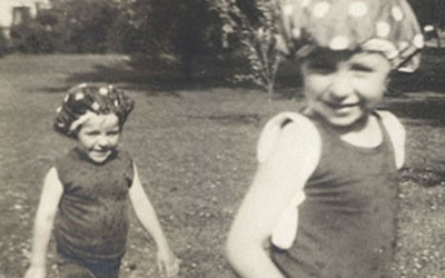 Ellen Douglas and her Younger Sister Barbara Playing on their Estates in Cedar Rapids, Date Unknown