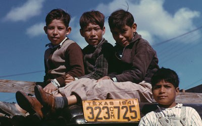 Boys Sitting on a Truck in Robstown, Texas, January 1942