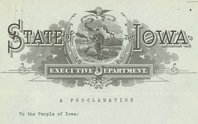 """Proclamation of Iowa Governor William Harding removing executive order from the provisions of the """"Babe Proclamation"""", but upholding the use of English only in classrooms."""