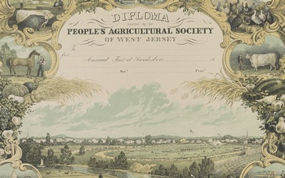 This print from the 1850s shows a number of agricultural products and machines under the banner of liberty and prosperity.