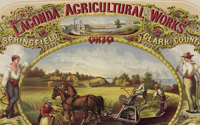 This print shows scenes of men harvesting wheat using new machinery c. 1850.