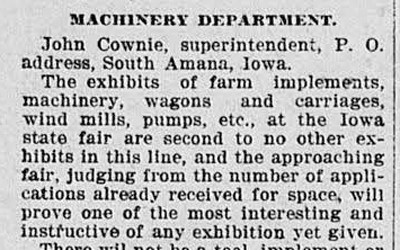 The author of this 1897 newspaper article gives readers information about the newest farm implements that can be seen at the Iowa state fair.