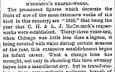 This Chicago Daily Tribune article from 1874 tells the reader about the history of the McCormick reaper and how its inventors continued to innovate.