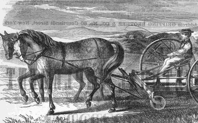 This 1862 advertisement shows a double plowing machine that claims it will save farmers time and money when compared to a common plow.