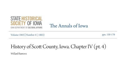 The history of agricultural fairs in Scott County was published in 1863.