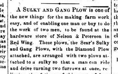 This article from a Minnesota newspaper in 1874 advertised a new plow that promised to decrease the time farmers needed to plant.