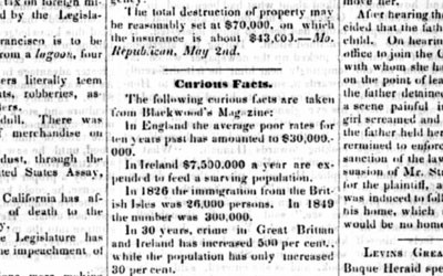 This 1851 article from the Des Moines Courier highlights statistics about the British Isles in regard to crime and poverty.