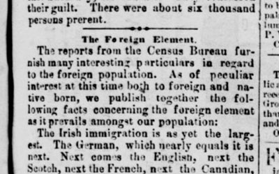 The newspaper in Burlington, Iowa published this article in 1855 with details regarding statistics of immigration and lists the jobs immigrants engage in.