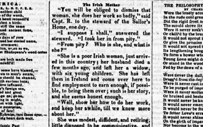 This newspaper article from 1849 chronicles the plight of an Irish mother who left her small children in Ireland and immigrated to America without them so she could earn money to send for them.