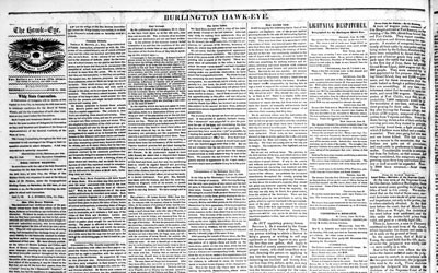 This newspaper from 1849 was published in the Burlington Hawk-Eye to describe the destitution prevalent in Ireland.